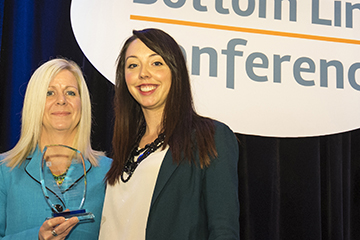 UBC's Tracey Hawthorn and Miranda Massie accepted this year's C.M. Hinck's Award.